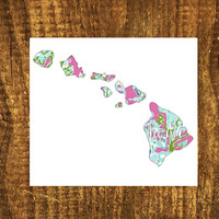 LILLY PULITZER Hawaii Home Decal   Hawaii State Decal   Homestate Decals   Love Sticker   Love Decal    Car Decal   Car Sticker Bumper   103