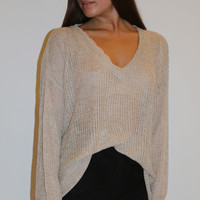 Oversized V-Neck Sweater - Mocha