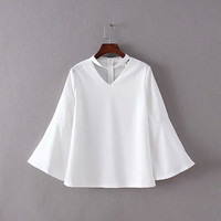 Butterfly Sleeve Back Zipper V-Neckline Chiffon Blouse
