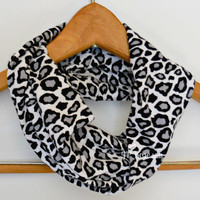 Mommy and Me Scarves, Leopard Infinity Scarf, Black and White, Mother's Day Gift, Baby Shower Gift, Teen and Adult Scarves, Single Loop