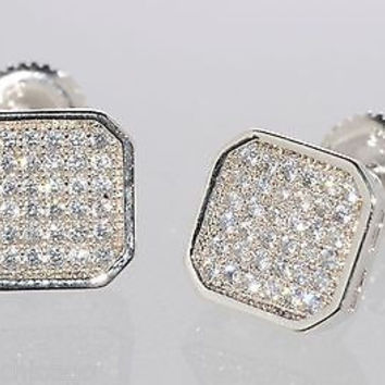 Mens Earrings Sterling Silver Screwback Studs 9mm Clear CZ Rounded Square AAA