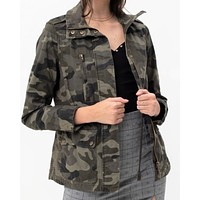 Long Sleeve Camoflague Military Cotton Anorak Jacket in Olive