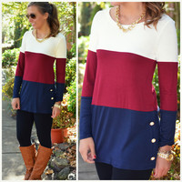 Colorblock The Block Burgundy Striped Button Top