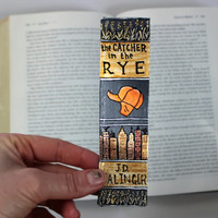 Hand Painted Bookmark // The Catcher in the Rye Classic Hardcover // Book Spine Bookmark // JD Salinger // Gift for Readers