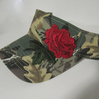 Visor Camouflage with Gorgeous Red Rose Embroidered Appliqué Golf Visors Accessories Hats Women's Visors Women's Golf Hats