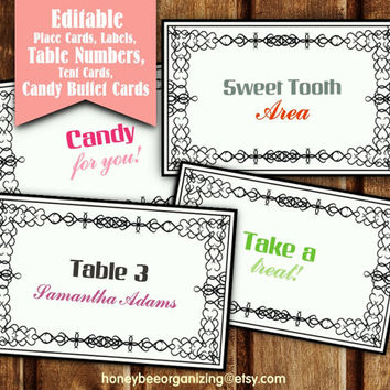 Blank Tent Cards - Classic Black and White Escord Cards - Wedding Tent Cards - Editable Candy Buffet Cards - Editable Labels - Name Tags