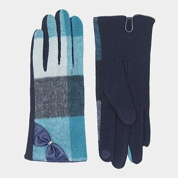 Solid Check Bow Detail Touch Gloves (Click for More Colors)