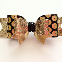 Girls Gold and Black dot bow, Christmas Bow, Holiday hair clip! Christmas Headband, Gold and black donut Bow, Leather bow Headband