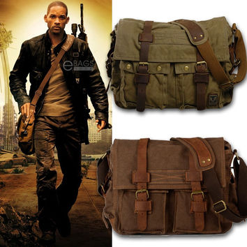 I AM LEGEND Will Smith men messenger bags military vintage canvas&genuine leather cross body bags 14 or 17'' laptop satchel bags