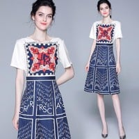 Valentino Newest Popular Women Print Short Sleeve Round Collar Dress