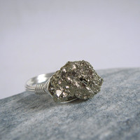 Raw Pyrite Ring, Sterling Silver Rough Pyrite Ring, Uncut Rock Handmade Wire Wrapped Jewerly