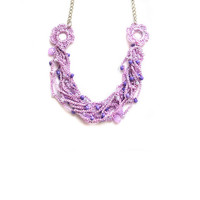 Purple crochet Necklace with purple beads - Choker Necklace, silver plated, womens accessory,  crochet jewelry