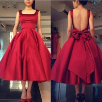 Custom Made Cheap Price Wine Red Satin Prom Dresses Tea Length Cocktail Party Dresses Sash Bow Lovely Homecoming dresses