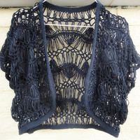 hairpin crochet shrug bolero in black and ivory wedding accessory shrug summer flower lace Cardigan cover up free shipping