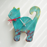 Blue cat wall clock, ceramic wall clock of a turquoise blue cat, unique, handpainted
