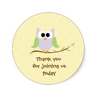 Cute Owl Thank You Stickers Pink and Mauve