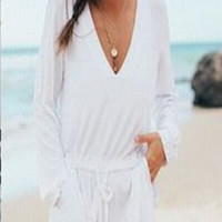 White V Neck Long Sleeve Drawstring Romper