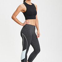 FOREVER 21 Reflective-Piped Heathered Run Leggings Charcoal/Cloud