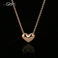 Simple Elegant Love Heart Cute Chains Necklaces &amp Pendants 18K Rose Gold Plated Fashion Brand Vintage Jewelry For Women DFN099 = 1958146564