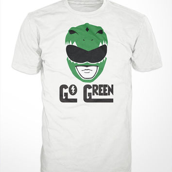 Go Green T-shirt - green, ranger, morphin, power, tommy, mighty, dragon dagger, dragonzord, guardian zordon, orgainc, whole foods, soy