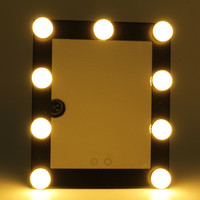 Black LED Bulb Vanity Lighted Makeup Mirror With Dimmer