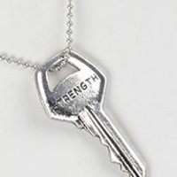 Show Your Faith MESSAGE KEY PENDANT  ( STRENGTH) NECKLACE AND EARRING SET