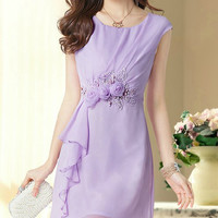Scoop Neck Flower Embellished Ruffled Chiffon Mini Dress