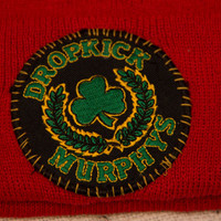 Red Beanie with Hand-sewn DROPKICK MURPHYS embroidered patch