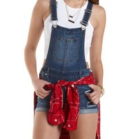 Ripped & Patched Denim Shortalls by Charlotte Russe