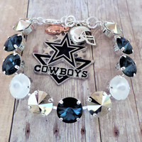 Dallas Cowboys Swarovski Bracelet, 12MM, Charms Included,Dallas Colors,Football,Sports Jewelry,DKSJewelrydesigns