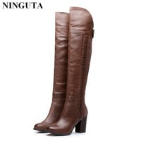 Genuine leather over the knee boots high heels thigh high sexy women boots autumn boot 36-41
