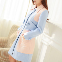 Blue and Pink Button-Up Coat