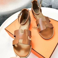 Hermes Classic Fashion Women Casual Leather Sandals Shoes Brown