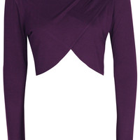 Julia Cross Over Long Sleeve Crop Top