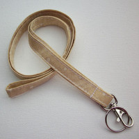 Lanyard  ID Badge Holder - NEW THINNER design - dazzle gold cream dots - Lobster clasp and key ring