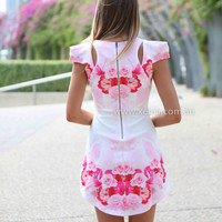 GYPSY ROSE DRESS , DRESSES, TOPS, BOTTOMS, JACKETS & JUMPERS, ACCESSORIES, 50% OFF SALE, PRE ORDER, NEW ARRIVALS, PLAYSUIT, COLOUR, GIFT VOUCHER,,Pink,White,Print,CUT OUT,SHORT SLEEVE,MINI Australia, Queensland, Brisbane