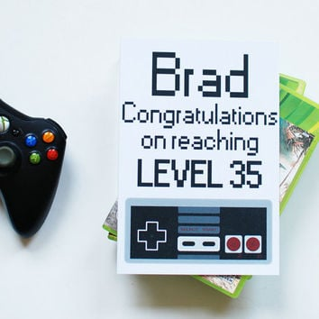 Personalised birthday card for gamer, congratulations on reaching level, funny birthday card for him, UK greetings cards, gamers gift.