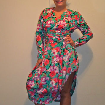 80s Bright Floral Long Sleeve Dress, Wrap Around Church Summer Sun Dress