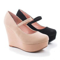 Christy16 By Blossom, Almond Toe Mary Jane Platform Wedges