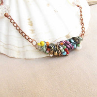 Fabric Bead Pendant Beaded Copper chain swirl bead Necklace Handmade Necklace # N 10