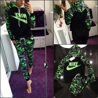 NIKE Fashion Casual Multicolor Camouflage Letter Print Long Sleeve Hooded Set Two-Piece Sportswear