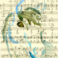 Whimsical Watercolor Horse Painting on Vintage Sheet Music, Painted Ink Pony on Old Fashioned Music Sheets, Beautiful Watercolor Wash Horse