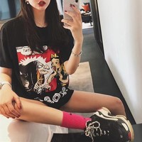 """""""Gucci"""" Women Loose Casual Letter Cartoon Snow White Pattern Print Short Sleeve T-shirt Top Tee"""