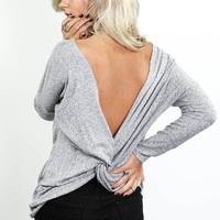 Infinite Love Heather Gray Long Sleeve Twist Back