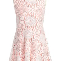 Girl's Fire Floral Lace Skater Dress,