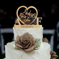 Wedding Cake Topper, God Gave Me You CakeTopper, Wedding decoration, Cake decor