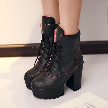 Fashion New 2016 Women Ankle Boots Shoes Chunky Heel Pumps High Heels Lace Up 4292