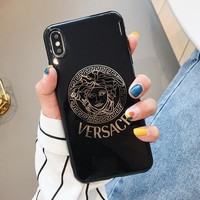 VERSACE Fashion Women Men Luxury Mobile Phone Cover Case For iphone 6 6s 6plus 6s-plus 7 7plus 8 8plus X XS Max XR Black