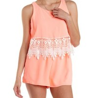 Neon Coral Lace-Trim Neon Flounce Romper by Charlotte Russe