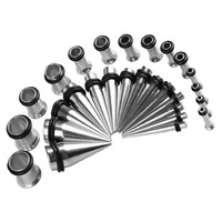 BodyJ4You Gauges Kit  STEEL  Tapers & Plugs 12G 10G 8G 6G 4G 2G 0G 0G 32 Pieces